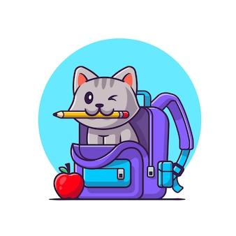 Netter katzenbissstift mit tasche und apfel-karikatur-vektor-symbol-illustration. tierbildungs-symbolkonzept. flacher cartoon-stil