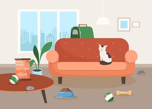 Netter katzencharakter, der auf sofa in der wohnzimmerillustration sitzt