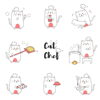 Netter katzenchef, der die karikaturhand gezeichnet für kind kocht.