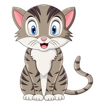 Netter katzenkarikatur, der auf weißem hintergrund sitzt