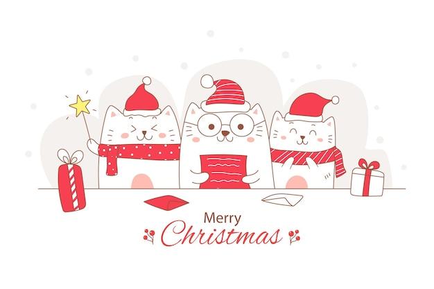Netter katzenkarikatur, der einen brief für weihnachtsgekritzelhand gezeichnet liest Premium Vektoren