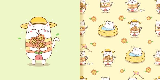 Netter katzenkarikatur, der sonnenblumen für sommerloses nahtloses muster hält.