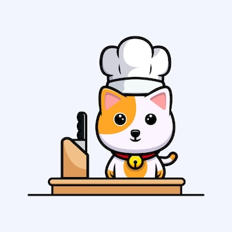 Netter katzenkoch, der bereit ist, karikaturmaskottchen zu kochen