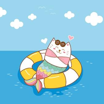 Netter katzenmeerjungfrau-abnutzungsschwimmring auf dem seekarikaturhandabgehobenen betrag