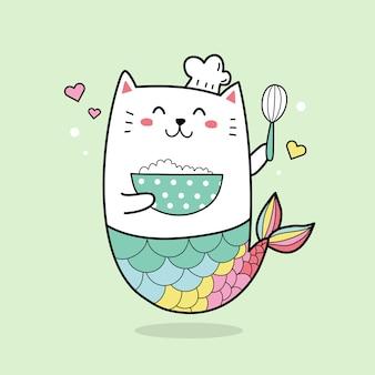 Netter katzenmeerjungfrauchef, der die kawaii karikaturhand des kuchens gezeichnet kocht.