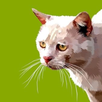 Netter katzennahaufnahme oben lokalisiert auf einem grünen hintergrund
