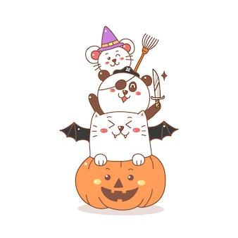 Netter katzenpanda und ratte auf dem kürbiskarikatur für halloween-tag.