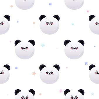 Netter kawaii panda, bär. tier nahtloses muster.