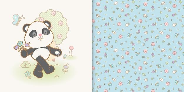Netter kawaii pandabär und nahtloses muster der blume