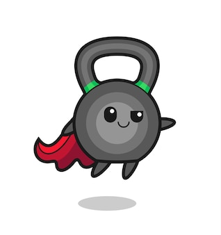 Netter kettleball-superheld-charakter fliegt, süßes stildesign für t-shirt, aufkleber, logo-element