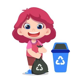 Netter kindercharakter, der müll säubert und recycelt