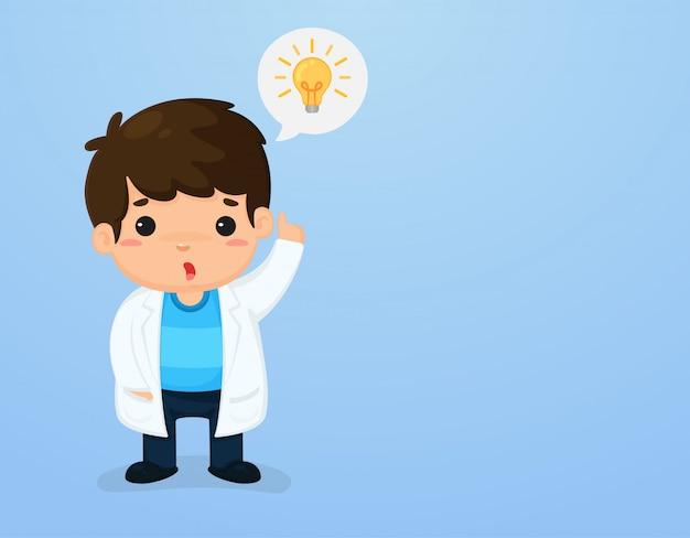 Netter kindercharakter in einer wissenschaftlerklage, die herauf die unterrichtsmedien der wissenschaft des himmels zeigt.
