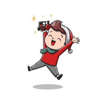 Netter kinderjunge mit seinem weihnachtsgeschenk-cartoon