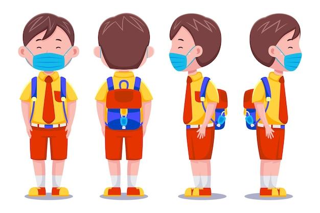 Netter kinderjungenschülercharakter, der maske trägt.