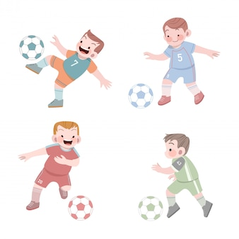 Netter kindersportfußball-illustrationssatz