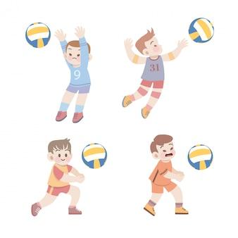 Netter kindersportvolleyball-illustrationssatz