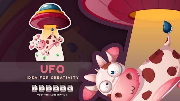 Netter kindischer aufkleber der kuh und des ufo vektoreps 10