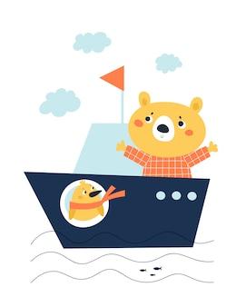 Netter kindischer babybär und schicker vogel auf dem schiffsboot lokalisiert auf weiß