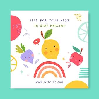 Netter kindlicher nahrungsmittel-instagram-beitrag