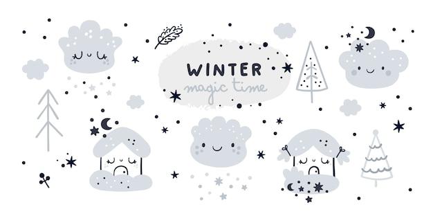 Netter kindlicher satz mit karikaturhäusern, wolken und weihnachtsbaum. magische winterzeitkollektion