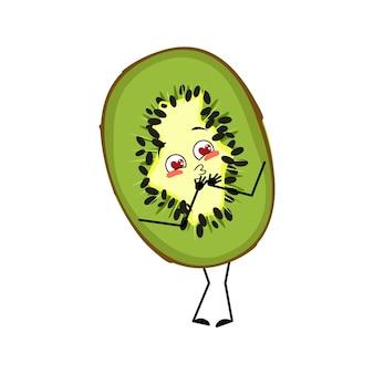 Netter kiwi-charakter verliebt sich in augenherzen küssen gesicht arme und beine das lustige oder lächeln emotio...