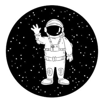 Netter kleiner astronaut in wellenartig bewegender hand des platzes. raum vektorbild. druckt design