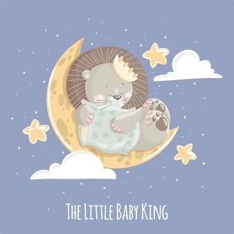 Netter kleiner babylöwekönig auf dem mond