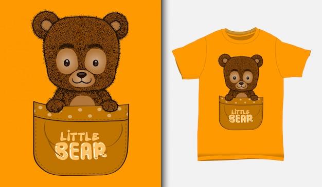 Netter kleiner bär in der tasche, mit t-shirt design, hand gezeichnet
