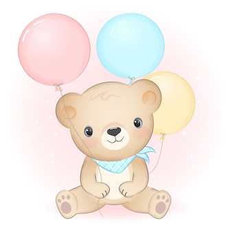 Netter kleiner bär mit gezeichneter tierkarikaturillustration des ballons hand
