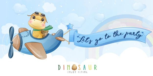 Netter kleiner dinosaurier, der mit flugzeugillustration fliegt