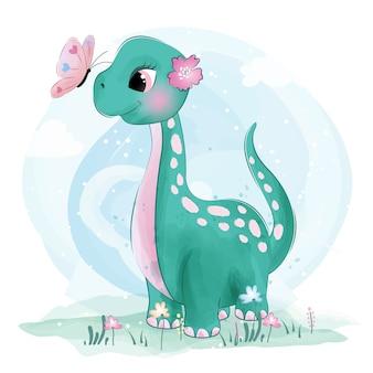 Netter kleiner dinosaurier, der mit schmetterlingen spielt