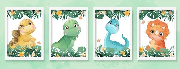 Netter kleiner dinosaurier mit aquarell-sammlung