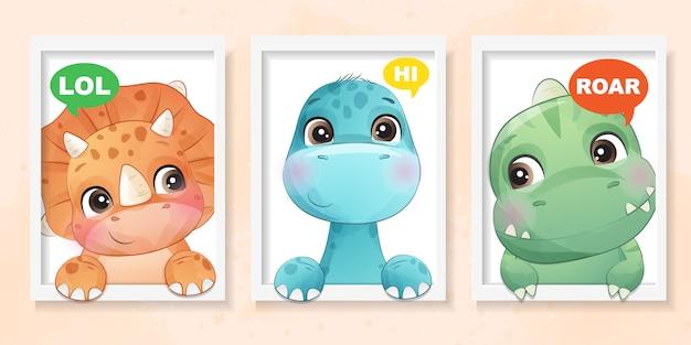 Netter kleiner dinosaurier mit aquarelleffektillustration
