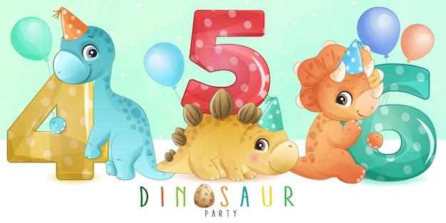 Netter kleiner dinosaurier mit nummerierungssammlung