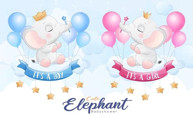 Netter kleiner elefant, der mit ballonaquarellillustration fliegt