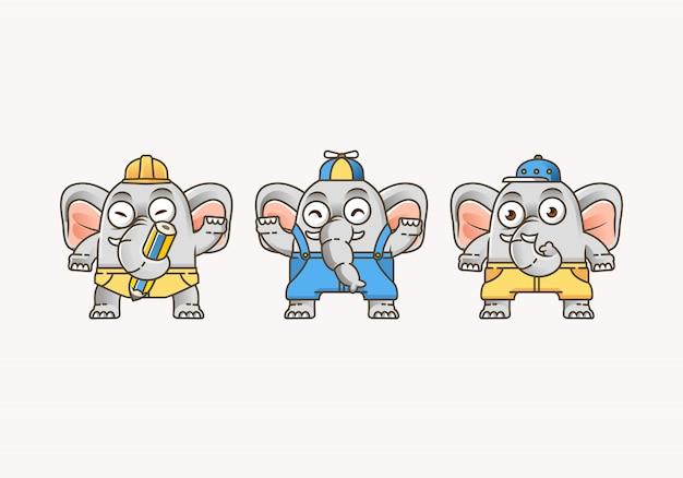 Netter kleiner elefant, eingestellt mit verschiedenen kleidern und pose für maskottchen und logo