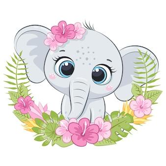 Netter kleiner elefant mit kranz der hawaii-blumen. karikaturvektorillustration.