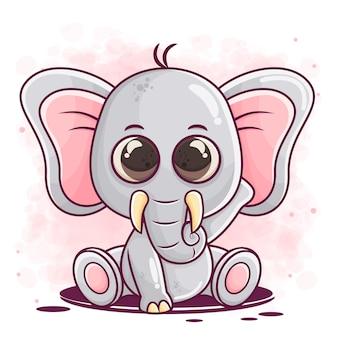 Netter kleiner elefantenkarikatur, der sitzt
