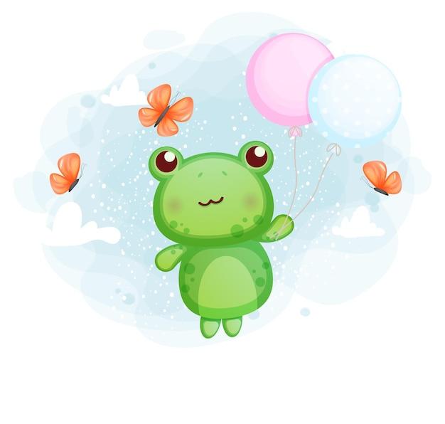 Netter kleiner frosch, der mit ballon fliegt