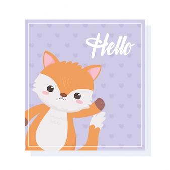 Netter kleiner fuchs, der hand hallo kartentierkarikaturvektorillustration winkt