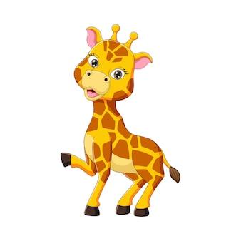Netter kleiner giraffenkarikatur lokalisiert auf weiß