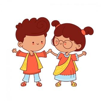 Netter kleiner indischer kindercharakter. illustration der flachen zeichentrickfilmfigur. auf weißem hintergrund isoliert.