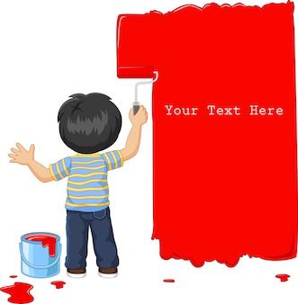 Netter kleiner junge, der die wand mit roter farbe malt