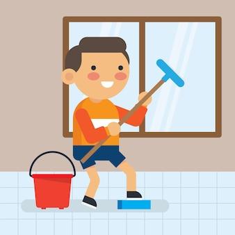 Netter kleiner junge, der ein haus-kerntätigkeiten tut. plakat für die reinigung von kindern