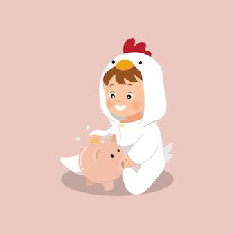 Netter kleiner junge, der eine münze zu einer sparschweinillustration speichert. geld sparen seit wenig. flacher stilvektor.