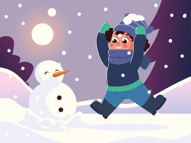 Netter kleiner junge, der einen schneemann in der winterszenenillustration macht