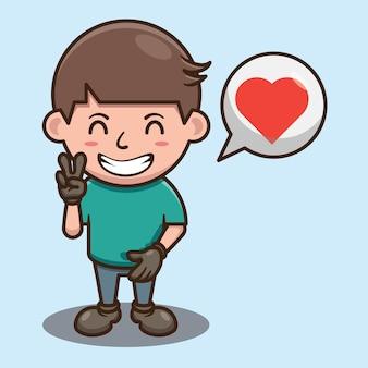 Netter kleiner junge, der mit liebes-karikatur-vektor-design lächelt