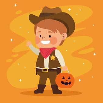 Netter kleiner junge, gekleidet als ein cowboycharaktervektorillustrationsentwurf