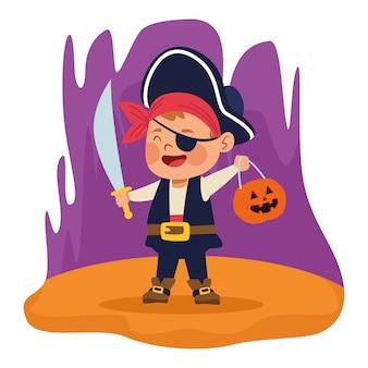 Netter kleiner junge, gekleidet als ein piratencharaktervektorillustrationsentwurf