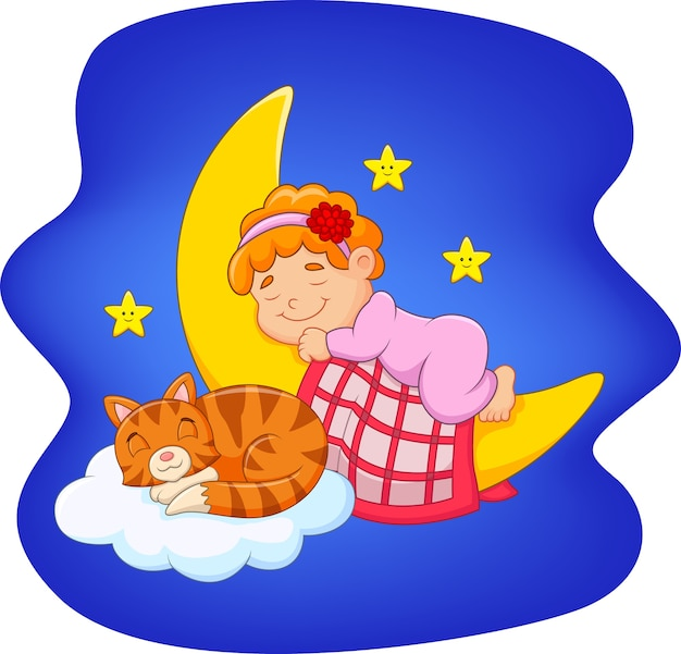 Netter kleiner junge mit der katze, die auf dem mond schläft